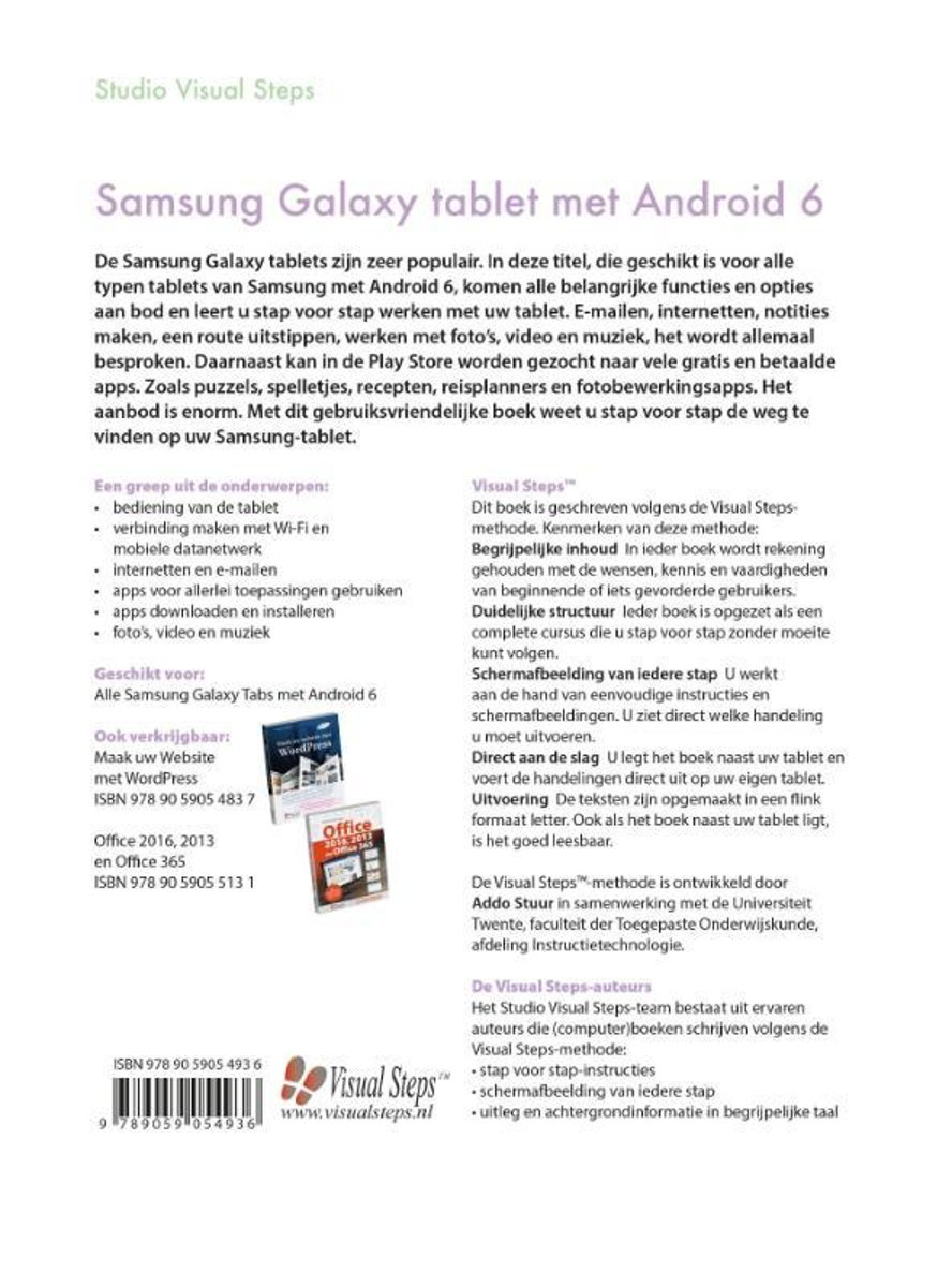 Der Tablet Bol Samsung Galaxy Tablet Met Android 6 Studio Visual Steps