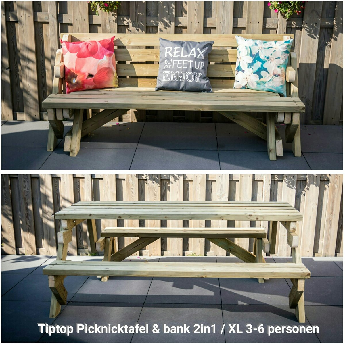 Picknicktafel Inklapbaar Tot Bank Picknicktafel Tuinbank 2in1 Xl 3 Tot 6 Personen