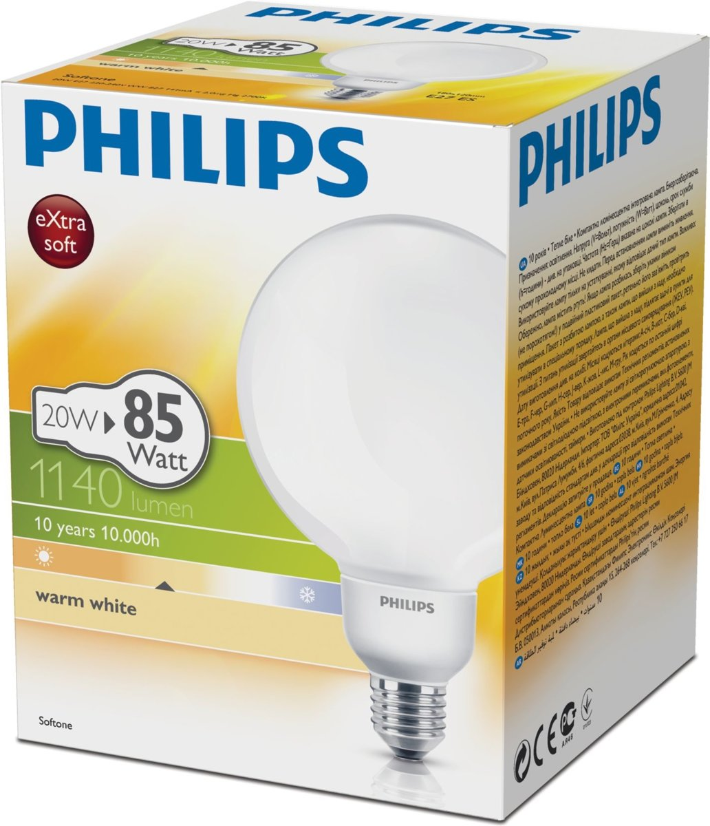 Philips Softone Flame Philips Softtone Spaarlamp Warm White 20w E27 2700k 1140lm