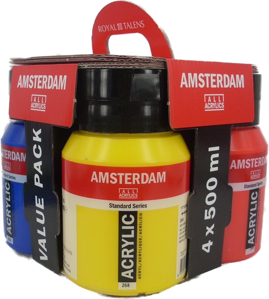 Amsterdam Acrylverf 500 Ml Amsterdam Acrylverf Set 4 Potten 500ml