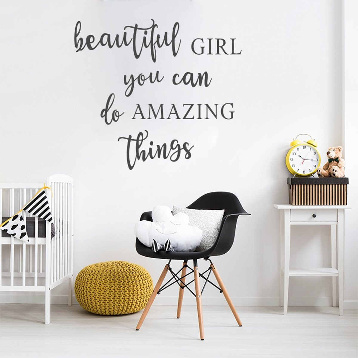Muurstickers Babykamer Tekst Muursticker Tekst Beautiful Girl Amazing Thing Babykamer Kinderkamer Meisje Modern Hip
