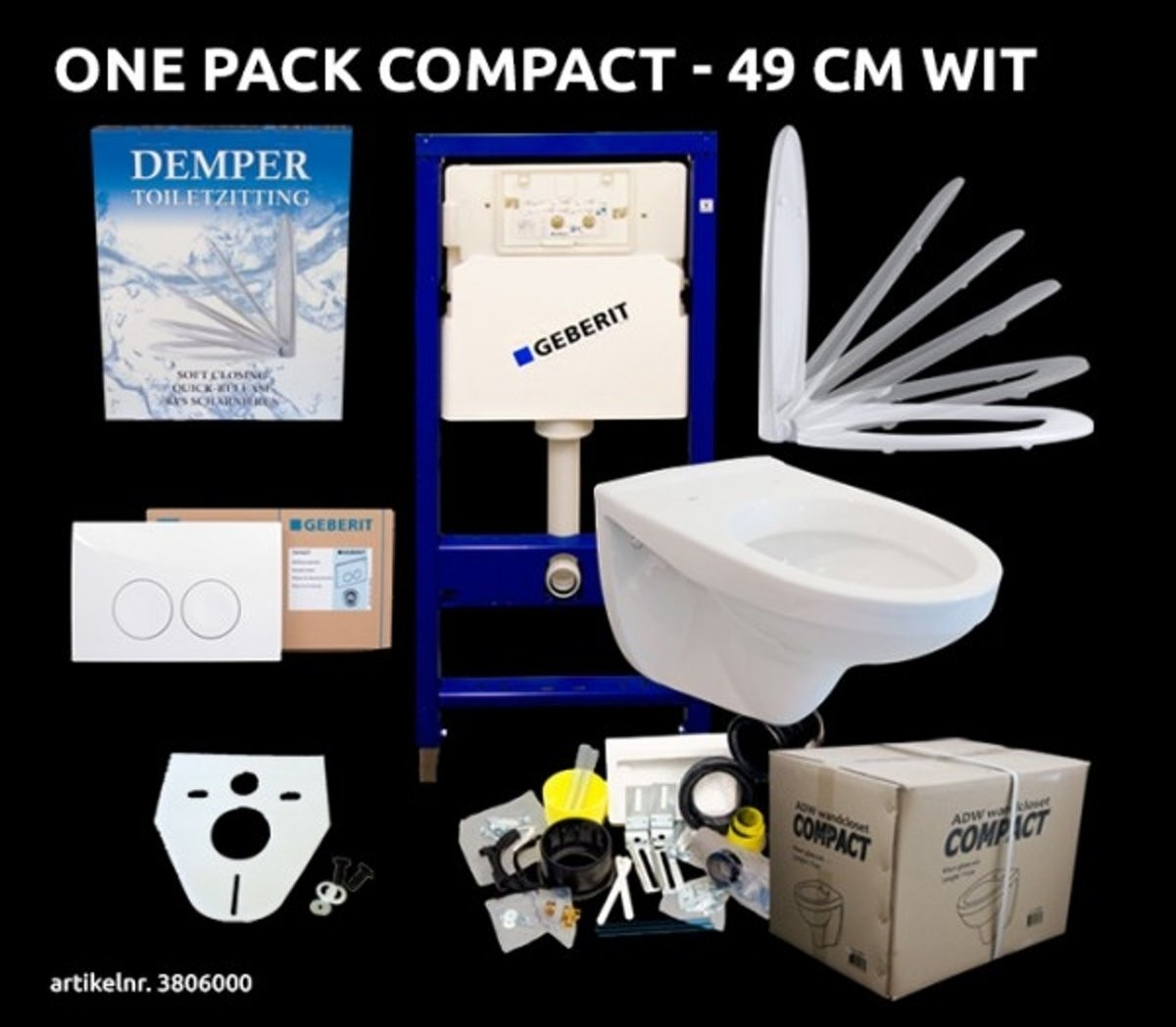 Compact Hangtoilet Geberit One Pack Compact 49 Cm Wit