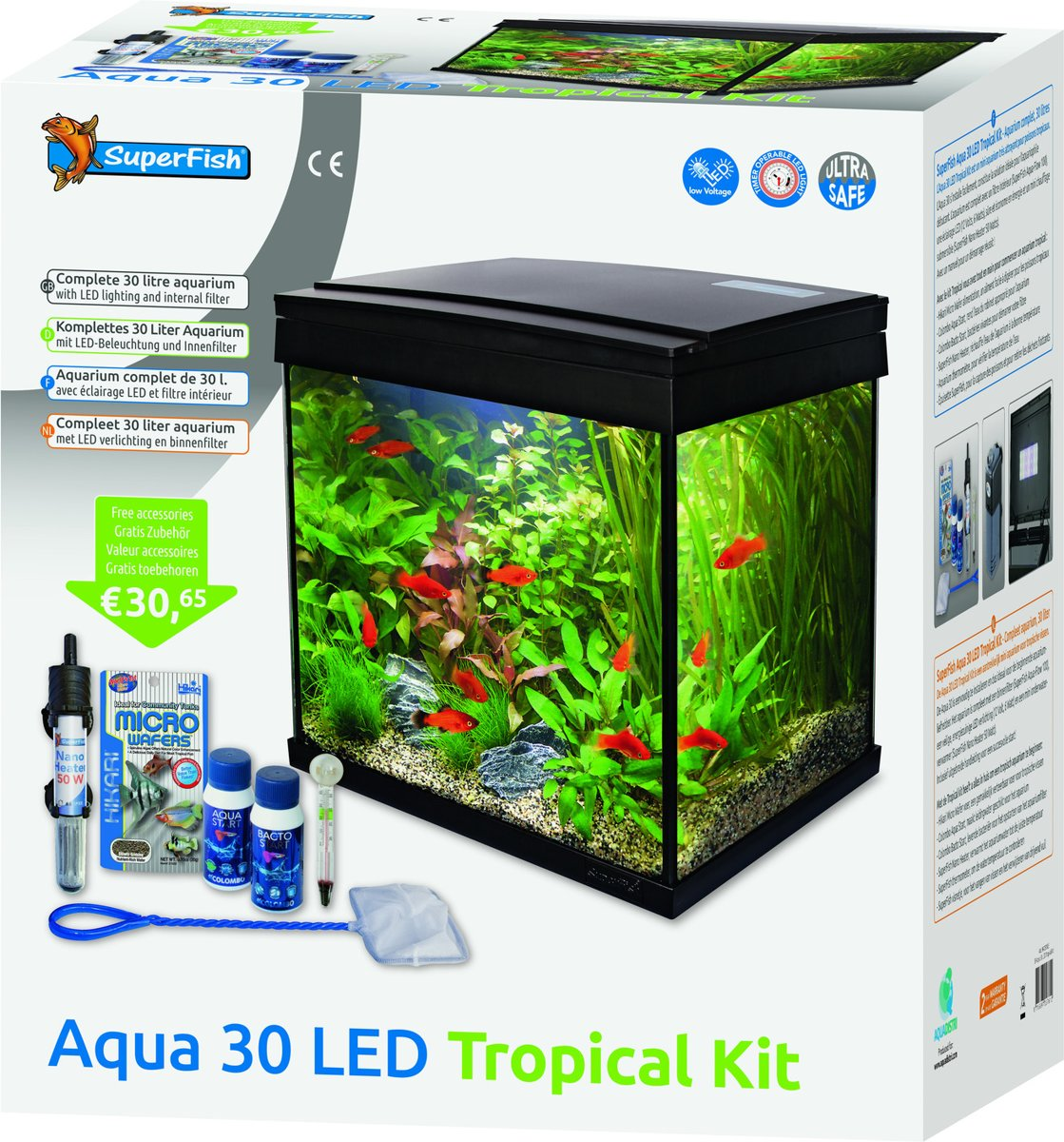 Aquarium Verlichting 30 Cm Superfish Aqua 30 Led Tropical Kit Aquarium Zwart 25 30l 36 X 23 X 39 Cm