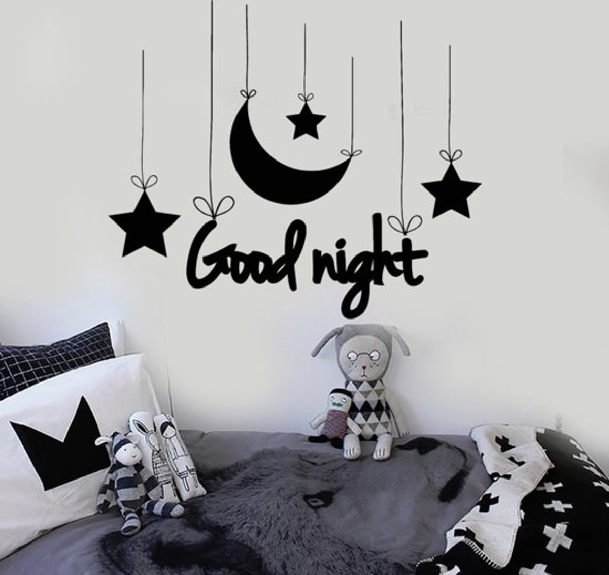 Muurstickers Babykamer Tekst Bol Muursticker Tekst Good Night Figuren Babykamer