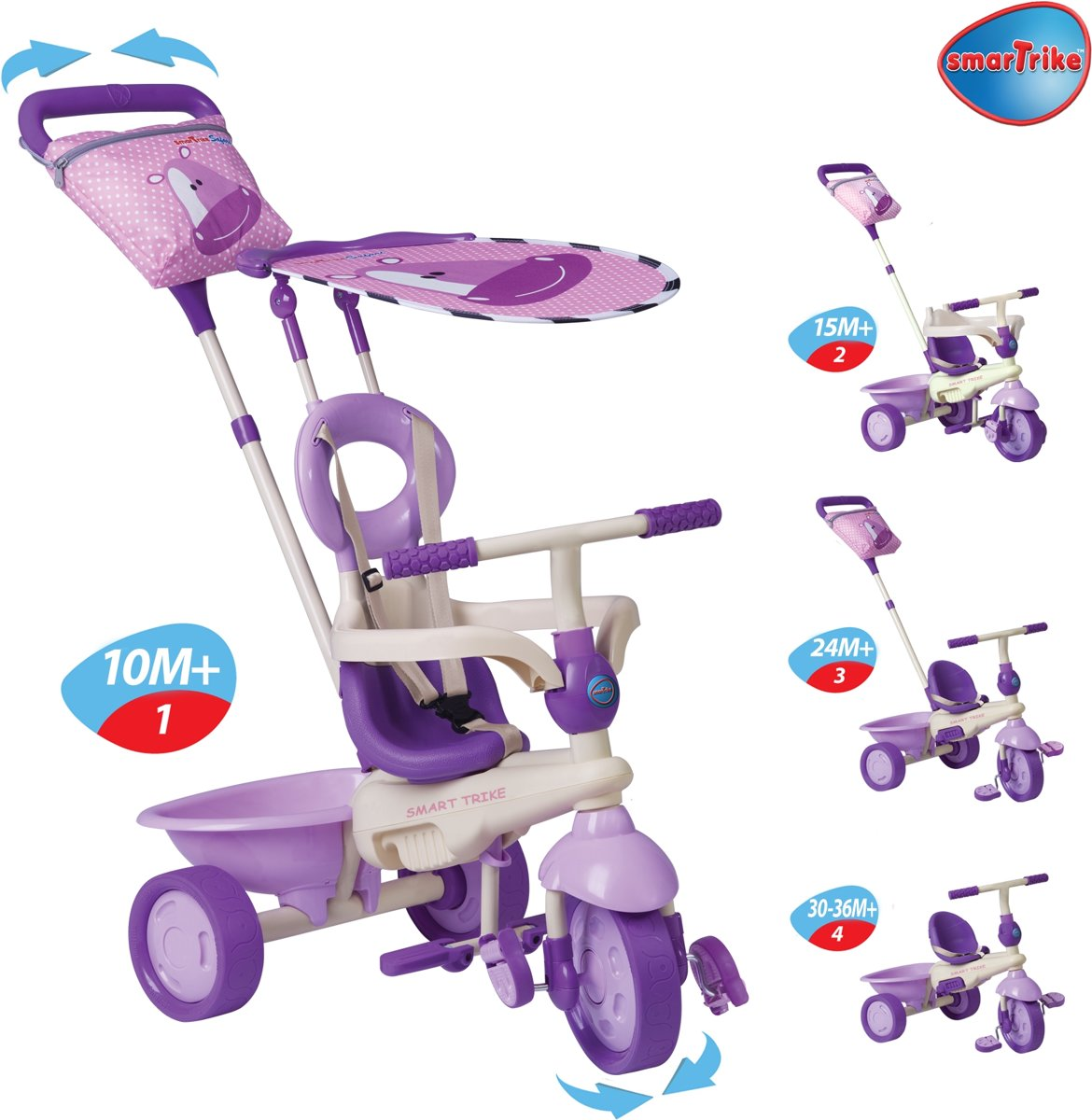 Smart Trike Roze Smart Trike Safari Touch Steering 4 In 1 Driewieler
