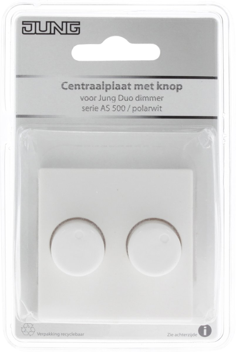 Jung Duo Dimmer Jung As500 Centraalplaat Met Knop Duo Dimmer Polar Wit