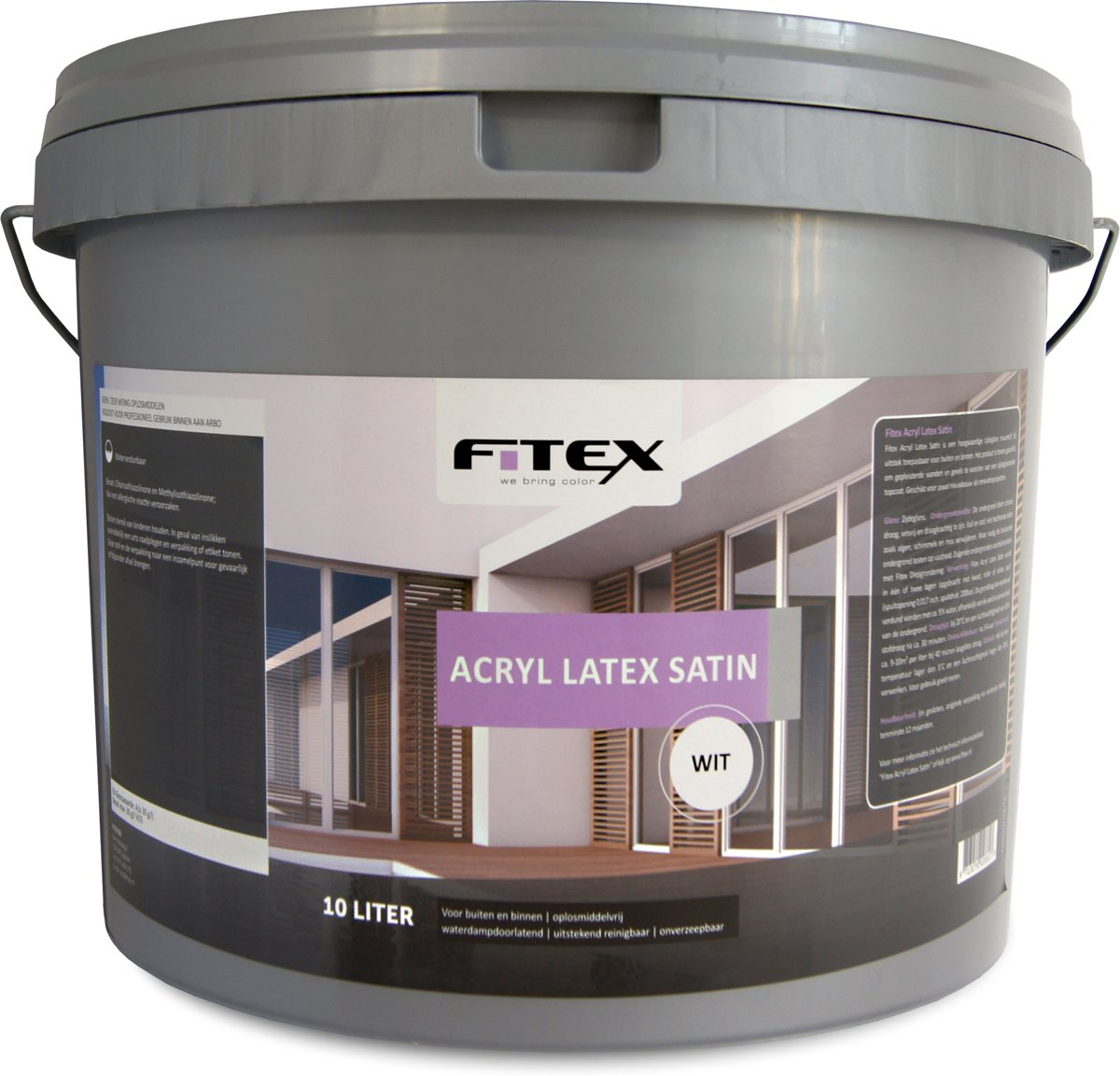 Latex Ral 9010 Fitex Muurverf Acryl Latex Satin Ral 9010 Zuiver Wit 10 Liter