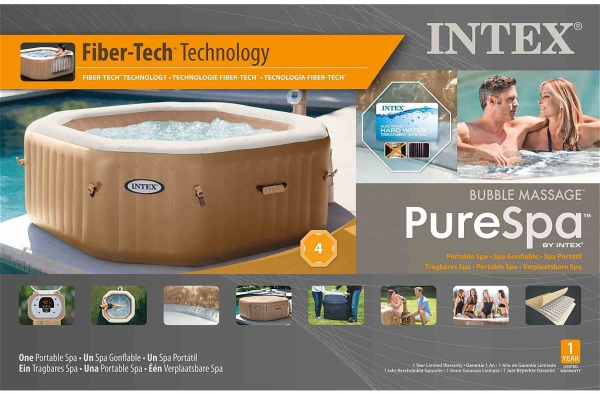 De Bubbel Zwembad Intex 28414nl Purespa Bubble Therapy Jacuzzi 4 Persoons Set 201 150x71cm
