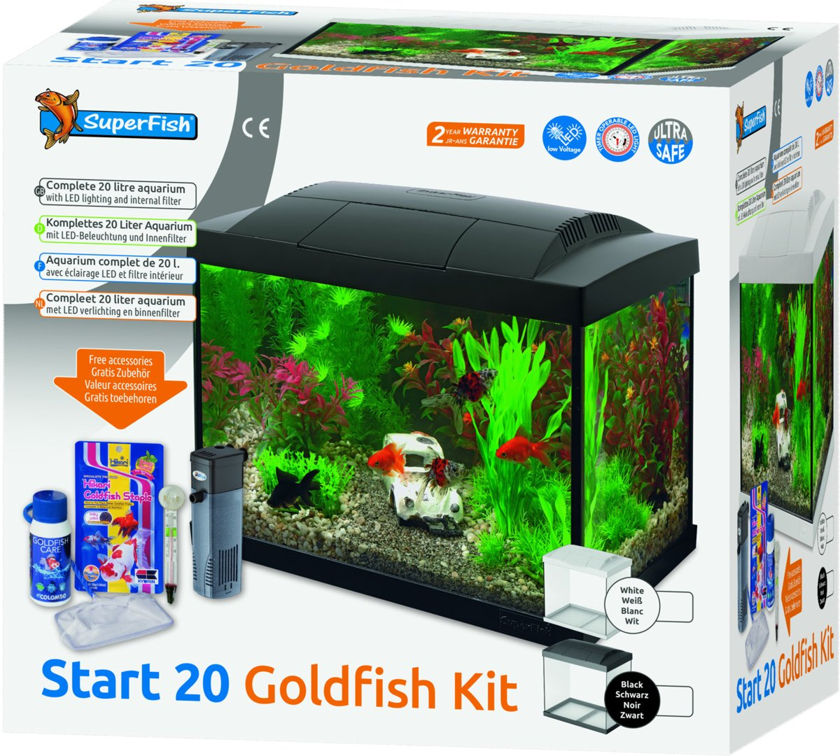 Aquarium Verlichting 30 Cm Superfish Start 20 Goldfish Kit Aquarium Led 20 L Zwart 36 X 23 X 32 1