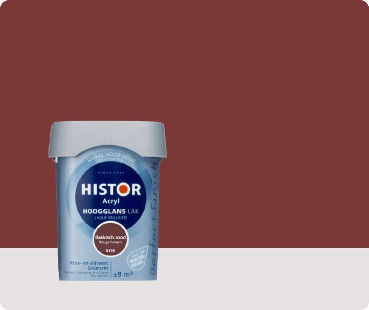 Perfect Base Trapverf Histor Perfect Finish Lak Acryl Hoogglans 75 Liter Baskischrood