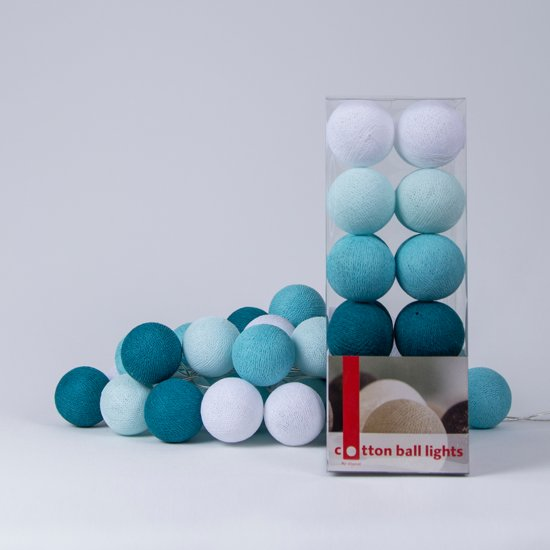 Gloeilamp Grote Bol Bol.com | Cotton Ball Lights Lichtslinger Aqua – 20 Cotton