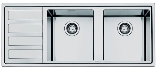 Mira 20 Double Bowl Sink With Left Hand Drainer S Steel