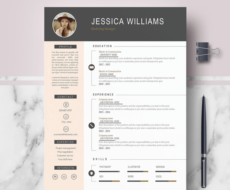professional cv template word with photo