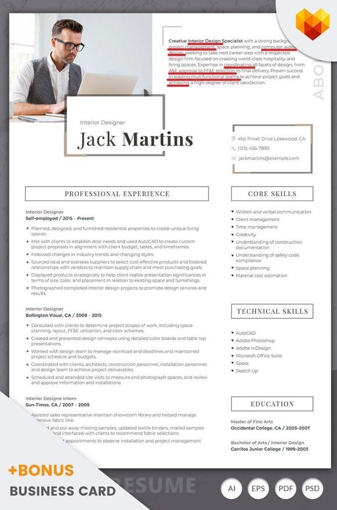 resume areas of expertise keywords