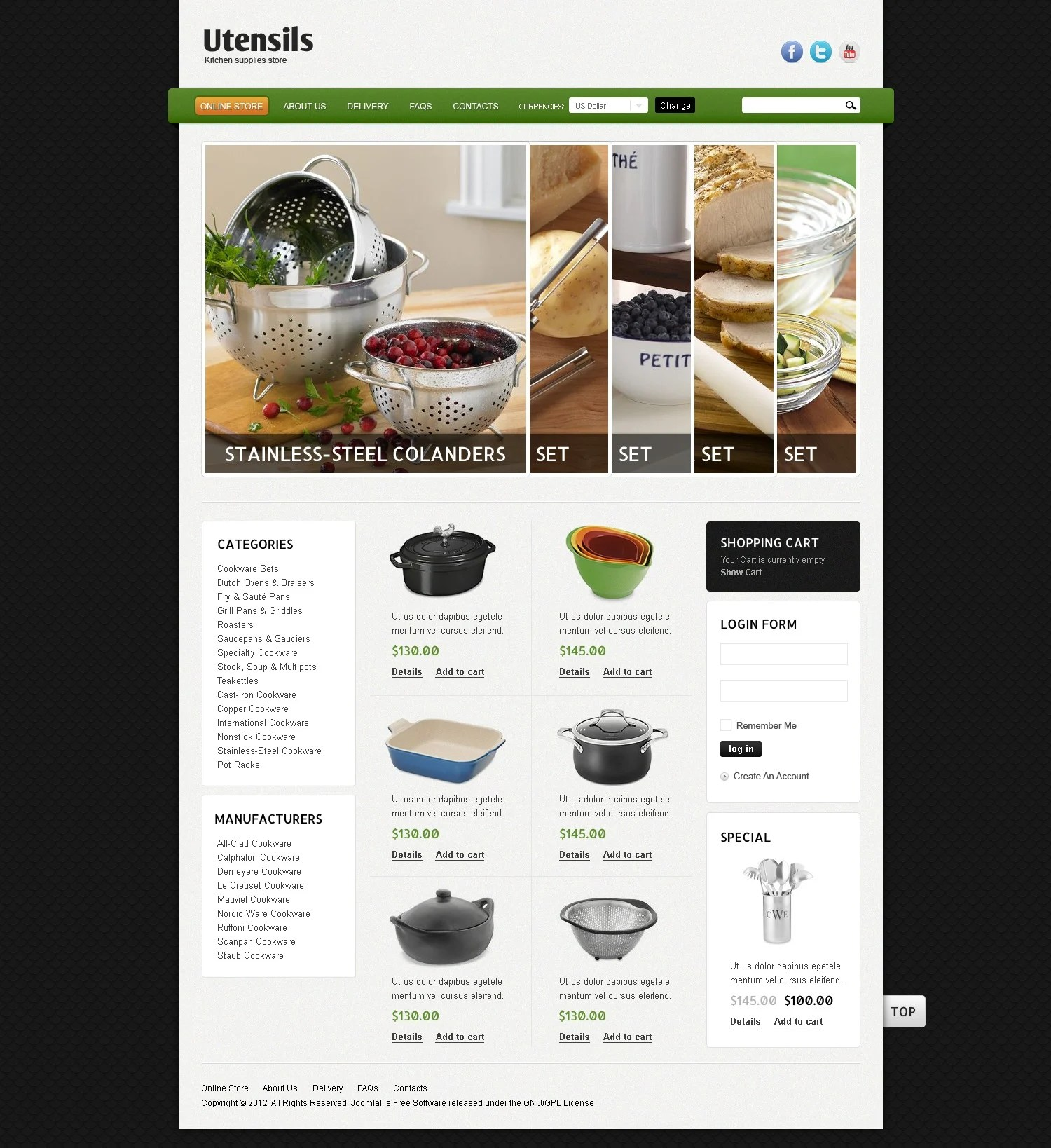 Sjablonen Keuken Kitchen Utensils Virtuemart Template 39084