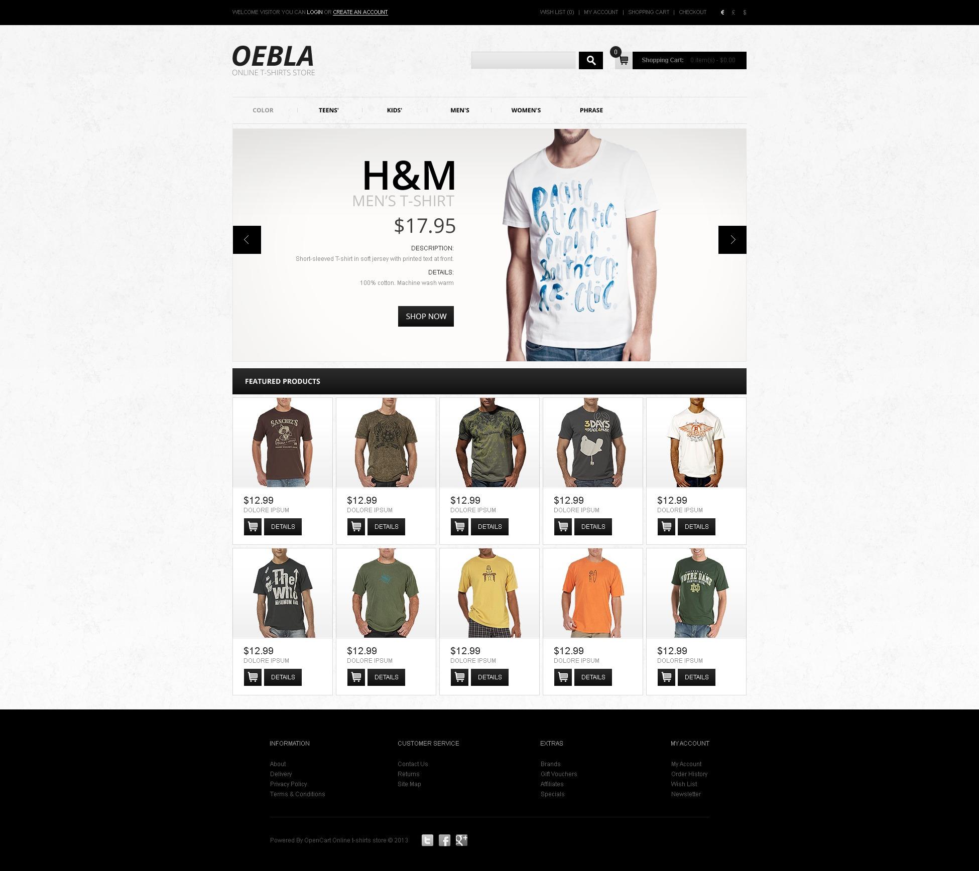Online t shirt store opencart template