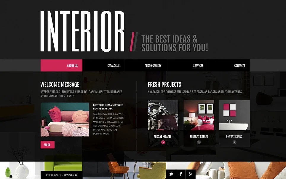 Interior Design Website Template #45410 - interior design web template