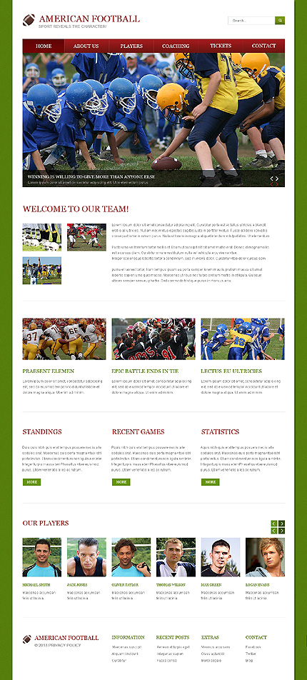 Sport Website Template Website Templates