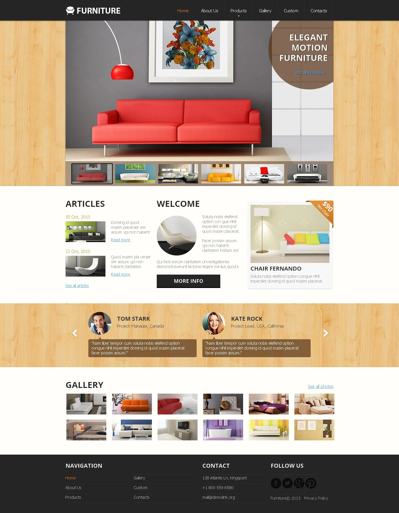 Warehouse Website Furniture Responsive Website Template 47895