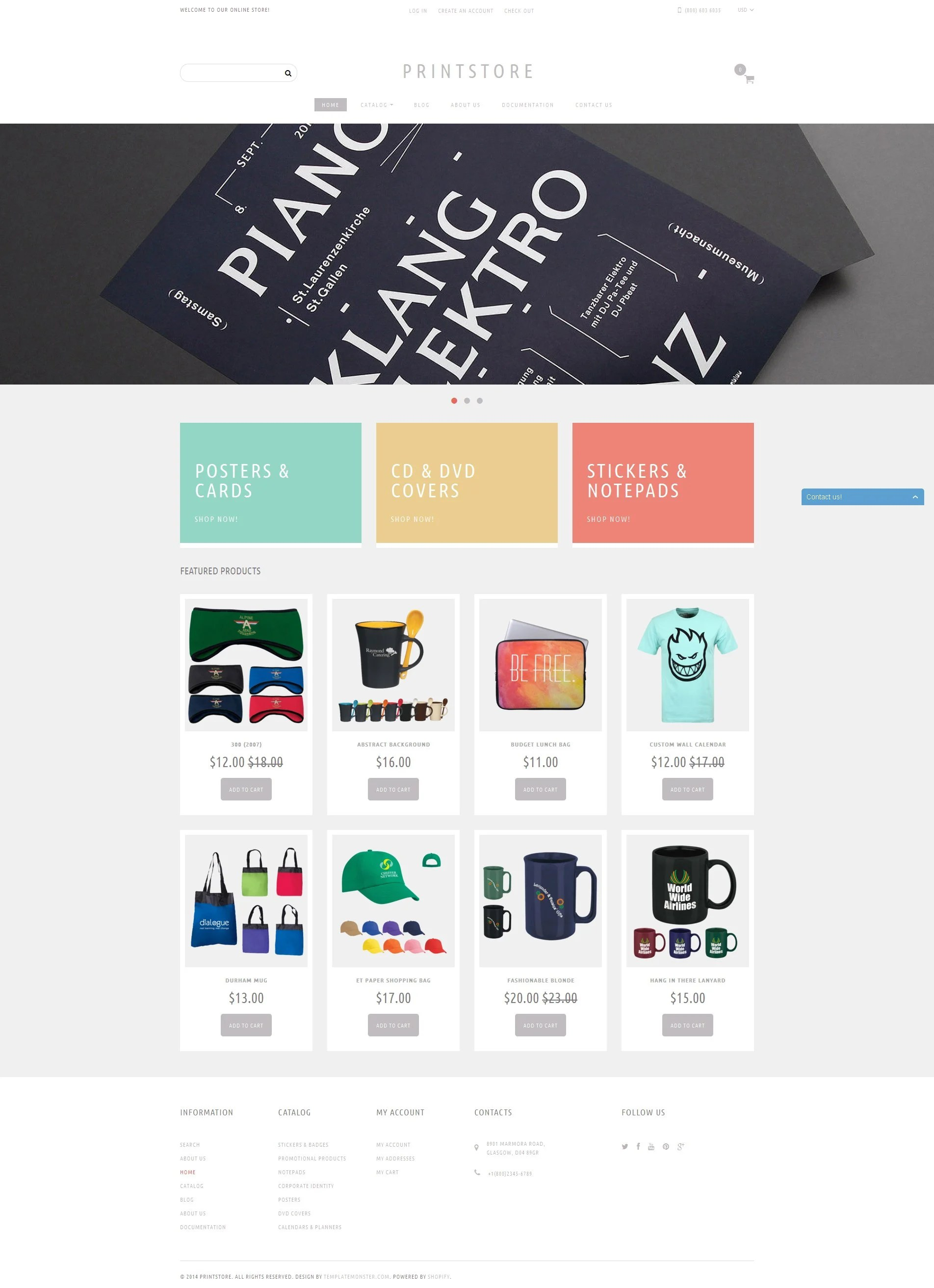 Design Online Shop Online Print Shop Shopify Theme 50968