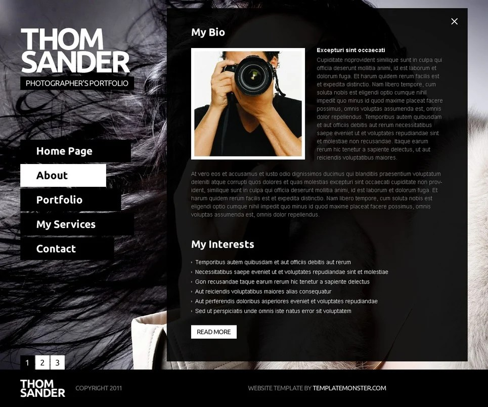 Free Full JS Website Template - Photography