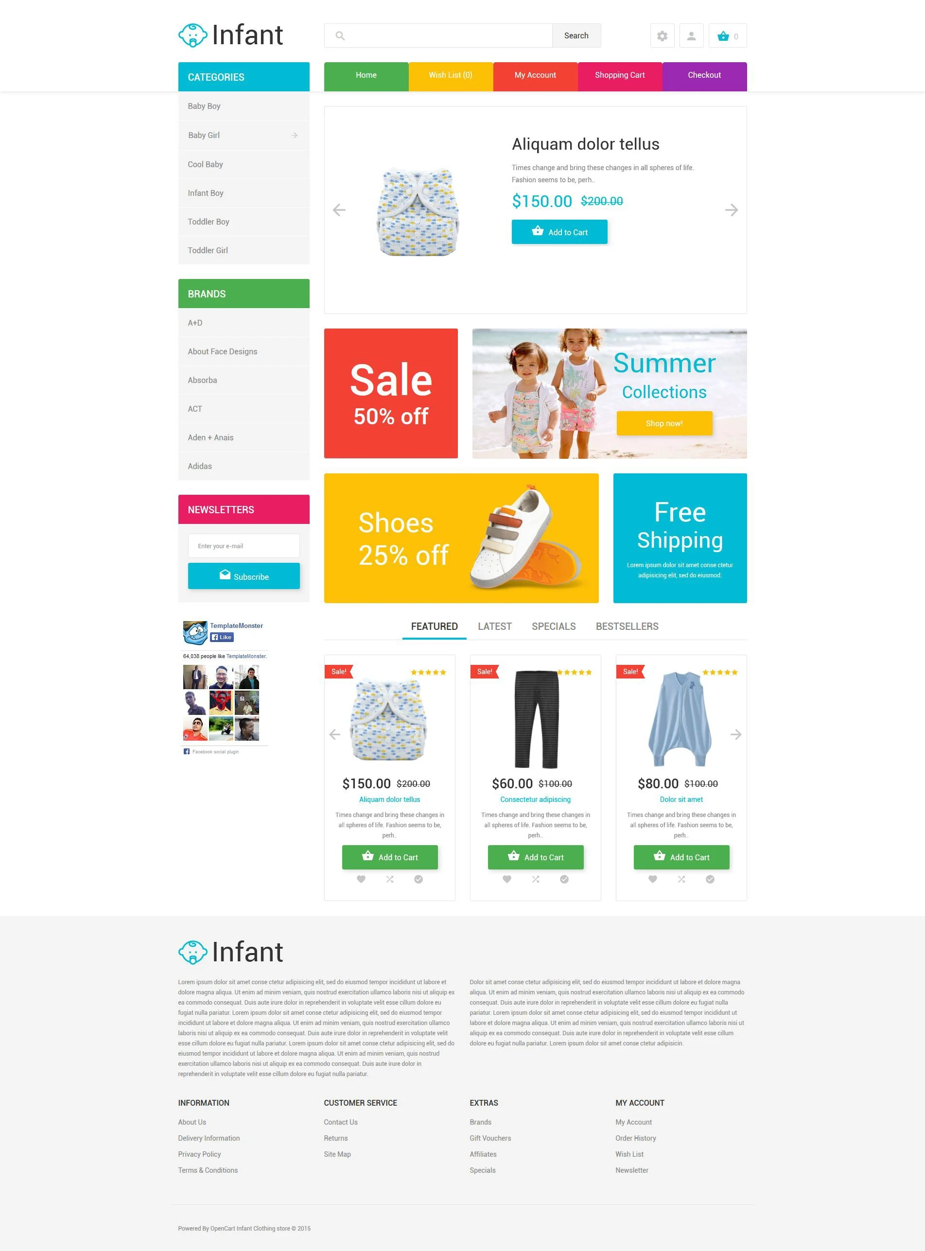Design Online Shop Baby Clothes Opencart Template