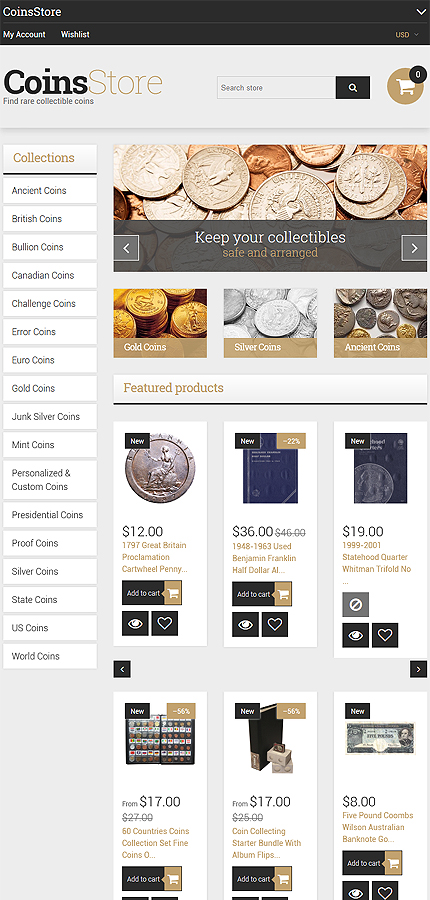 Antiquity Coins Website Template - Shopify template 61284 - shopify template