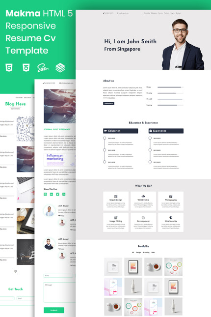 Website Template #73880 Cv Creative Portfolio Custom Website