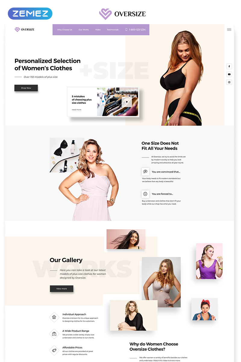 Wordpress Free Page Builder Clothes Landing Page Template