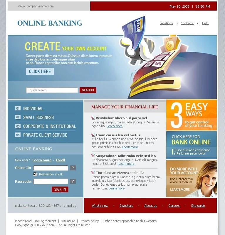 Bank Website Template #8840 - interactive website template