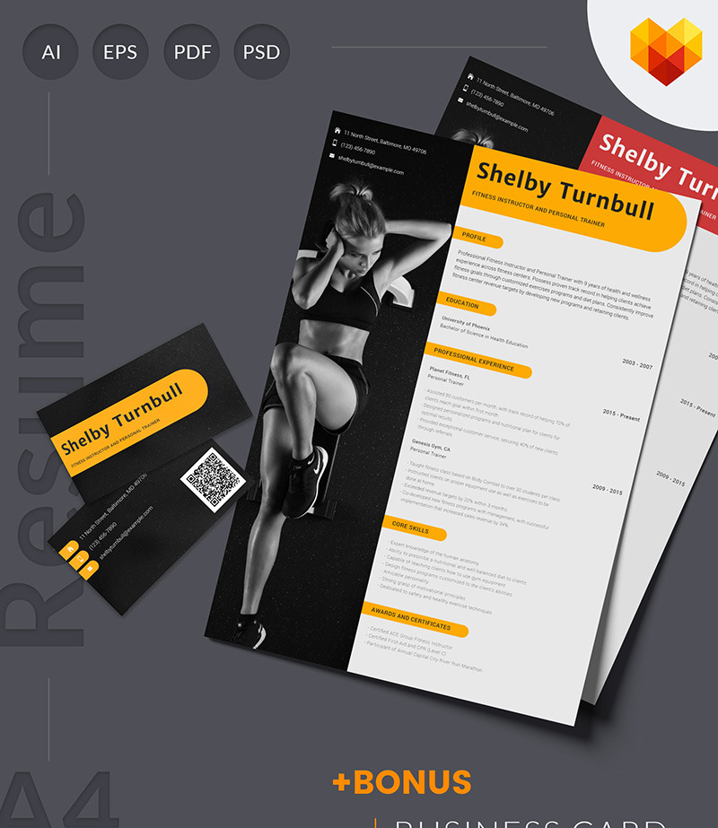 Personal Trainer Resume Template for Fitness Instructor MotoCMS