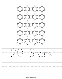 20 Stars Worksheet - Twisty Noodle