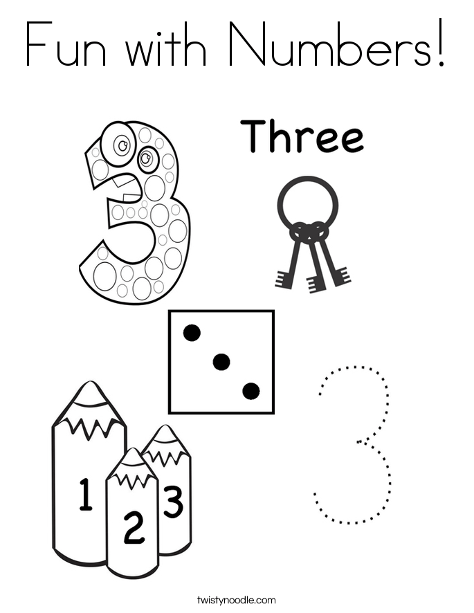 Fun With Numbers Coloring Page Twisty Noodle