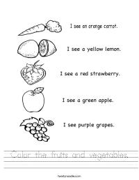 Color the fruits and vegetables Worksheet - Twisty Noodle