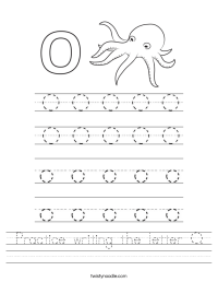 Practice writing the letter O Worksheet - Twisty Noodle