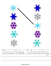 Snowflake Matching Worksheet - Twisty Noodle