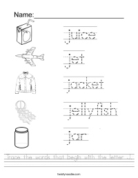 Trace the words that begin with the letter J Worksheet ...