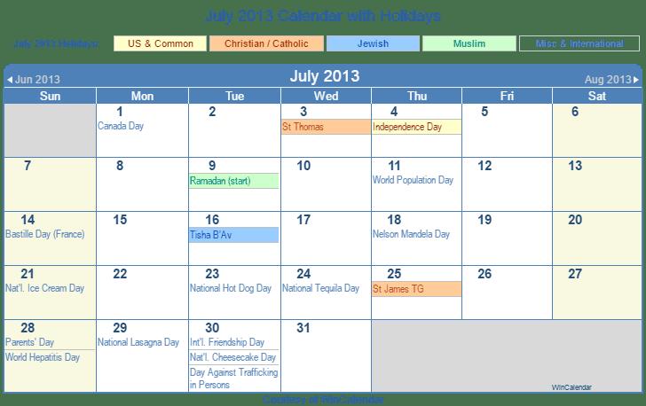 Calendar 2013 With Holiday Download 2013 Calendar Online Printable 2013 Holiday Calendar Print Friendly July 2013 Us Calendar For Printing