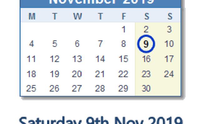 9 November 2019 Calendar With Holidays And Count Down Zaf