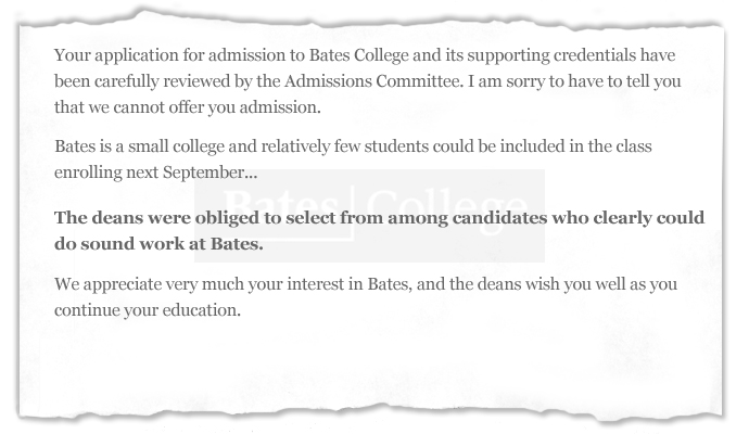 Sampling of Rejection Letters From Colleges and Universities - Wall