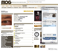 [CAPTION]Rhapsody is now integrated into  MOG's site for music afficionados