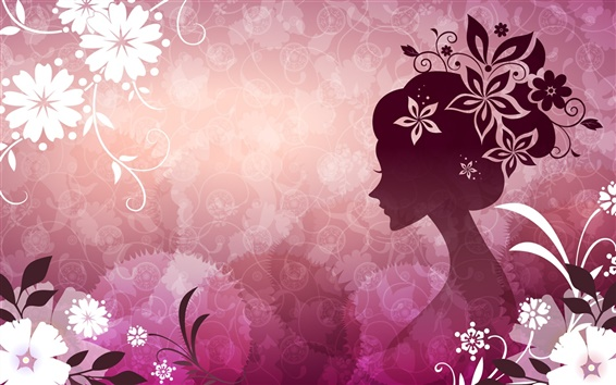 Wallpaper Vector woman with flowers pink theme 1920x1200 HD Picture