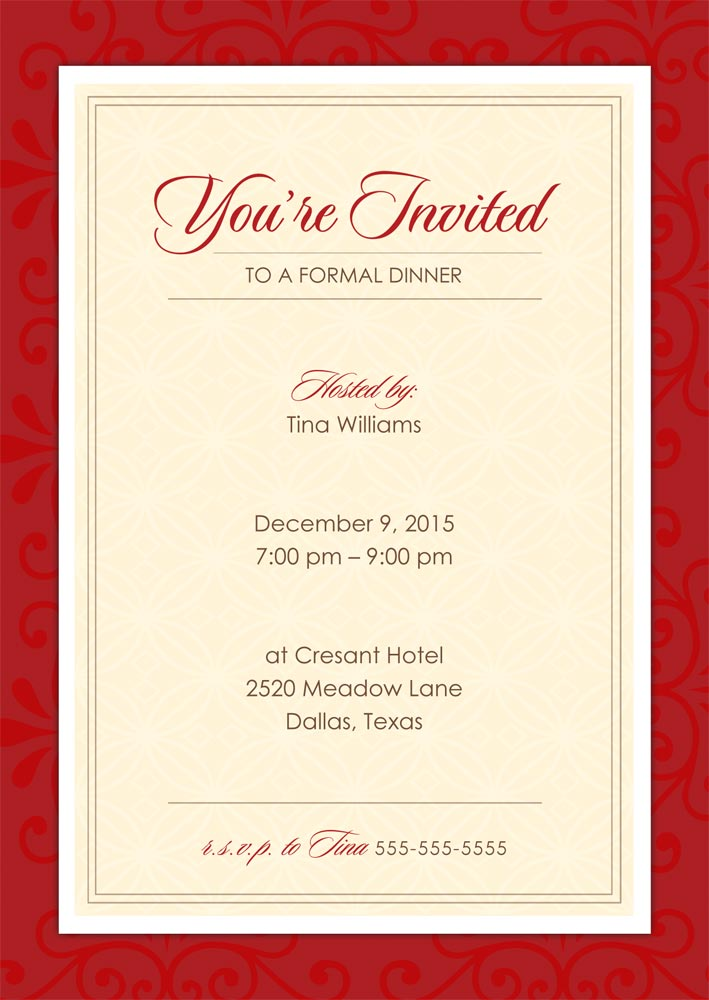 formal dinner party invitation template