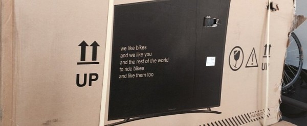Bicycle Delivery Damage Lowers As Company Prints an HD TV On the Box - box prints