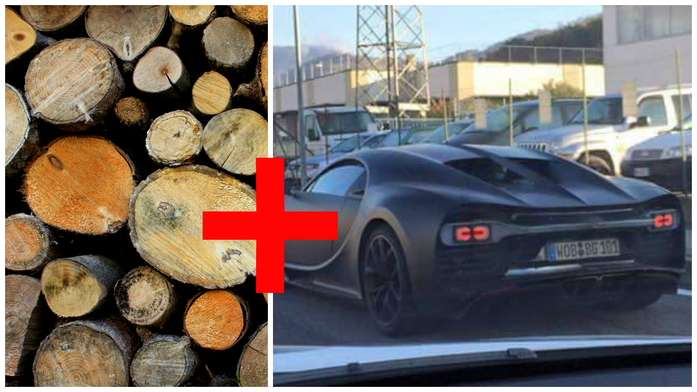Elon Musk Car In Spac Wallpaper Bugatti Chiron Prototype Squeezes Past A Load Of Wood