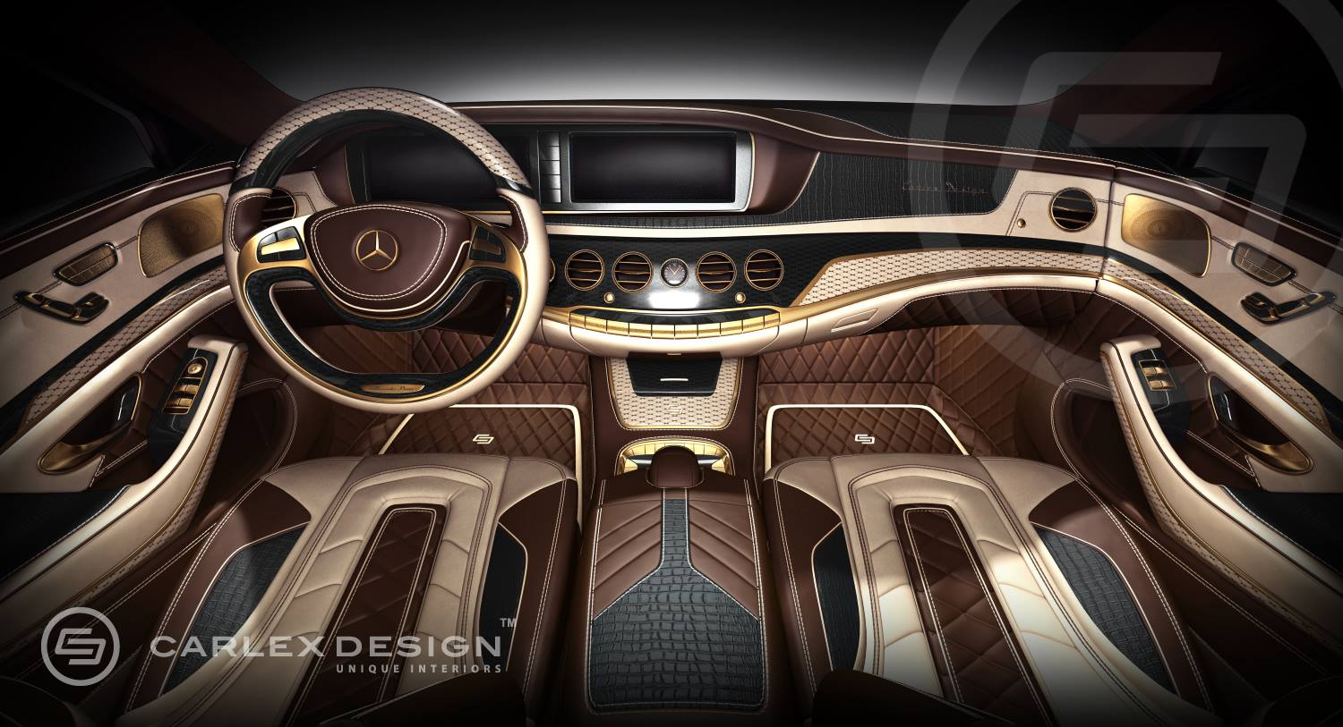 Gold S Carlex Mercedes S Class Interior 24k Gold And Crocodile Leather