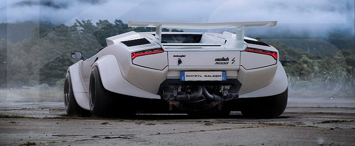 Moto Wallpaper 3d Fat Bottomed Lamborghini Countach With Huracan Taillights