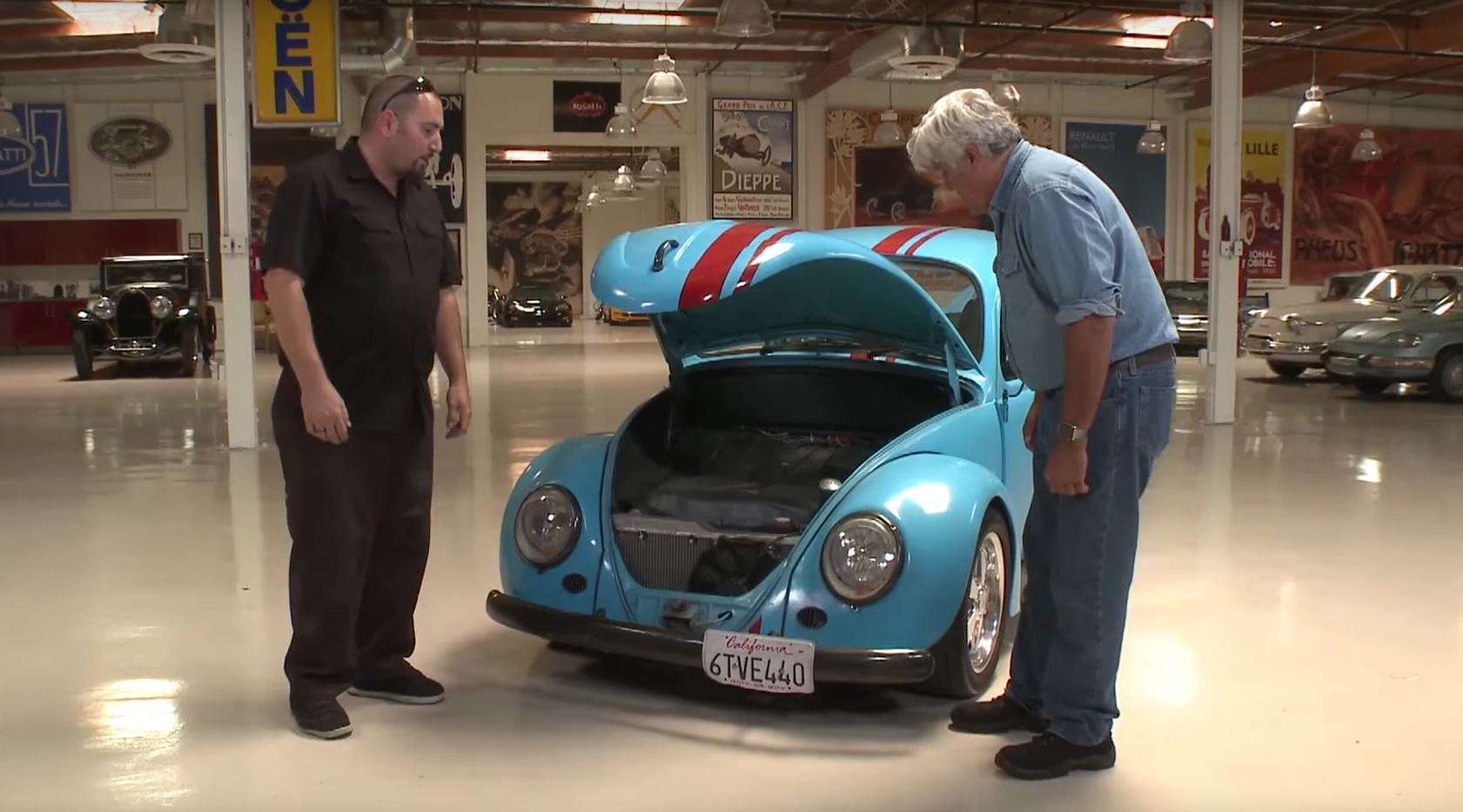 Garage Volkswagen Dieppe Jay Leno Checks Out Vw Beetle With Rx 7 Rotary Engine Autoevolution