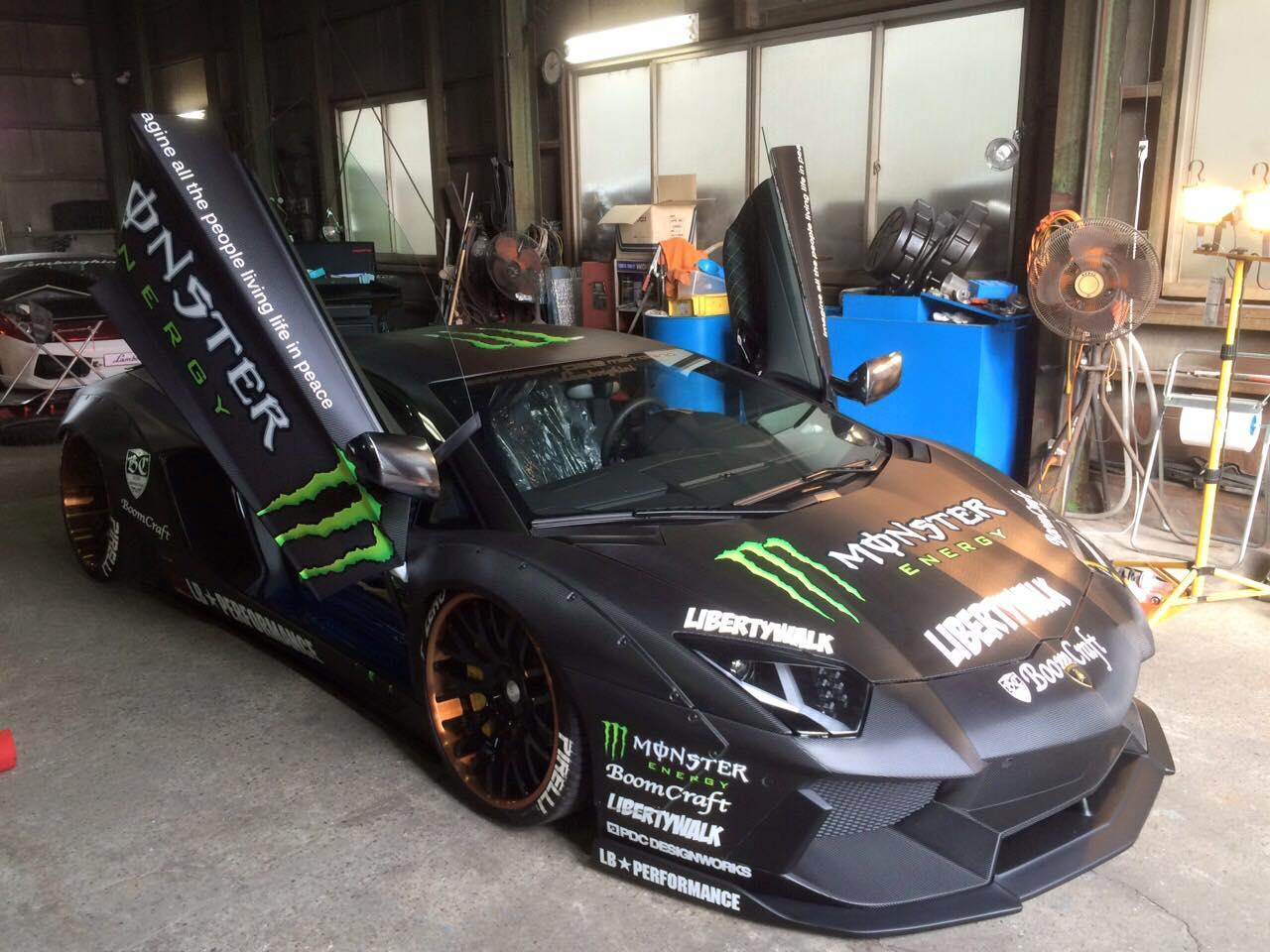 Widebody Drift Car Wallpaper Liberty Walk Lamborghini Aventador With Monster Livery