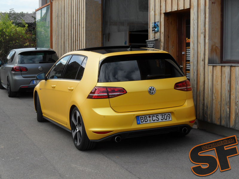 Vw Golf 7 Gti Gets Sunflower Matte Metallic Wrap - Metallic Farben Golf 7
